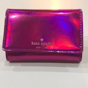 Kate Spade fuchsia metallic small wallet